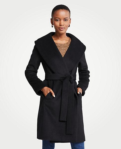 Petite Shawl Collar Wrap Coat