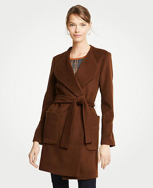 Petite Wool Blend Wrap Coat