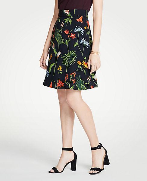 Petite Wild Botanical Flare Skirt