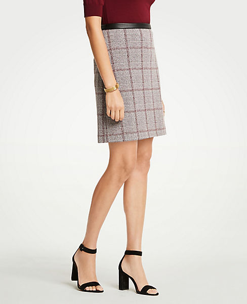 Petite Faux Leather Trim Plaid A-Line Skirt