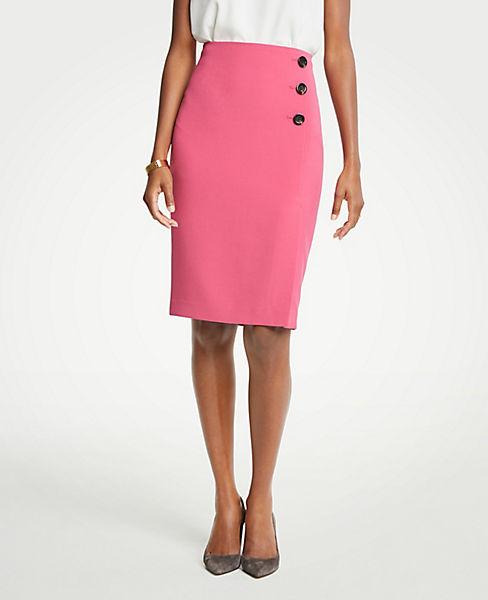 Petite Doubleweave Side Button Pencil Skirt