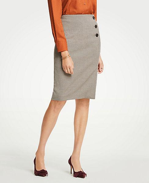 Petite Plaid Side Button Pencil Skirt