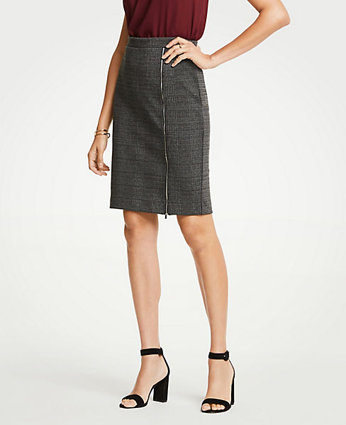 Petite Plaid Zipper Pencil Skirt