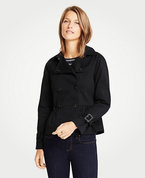 Petite Peplum Trench Jacket