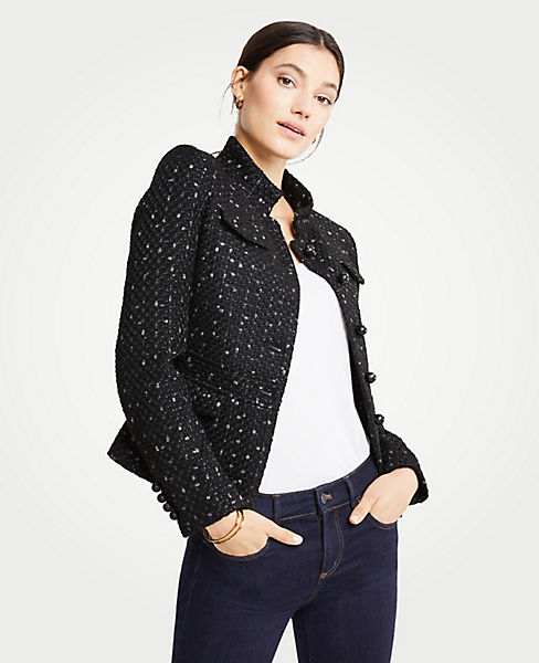 Petite Tweed Military Jacket