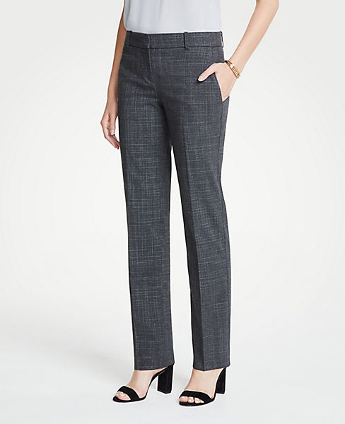 The Petite Straight Leg Pant In Fine Crosshatch - Curvy Fit