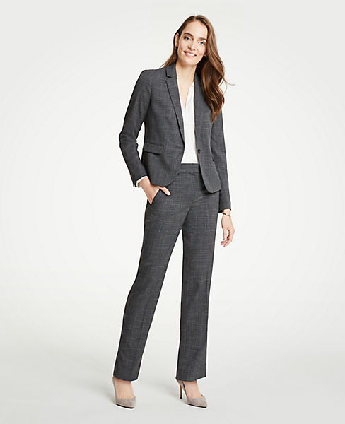 The Petite Straight Leg Pant In Fine Crosshatch - Classic Fit