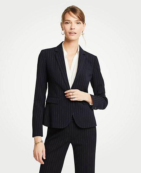 Petite Pinstripe One Button Blazer