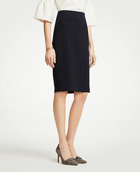 Petite Pinstripe Pencil Skirt