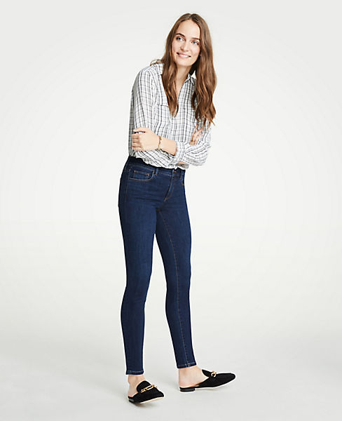 Petite Performance Stretch Skinny Jeans In Mid Indigo Wash