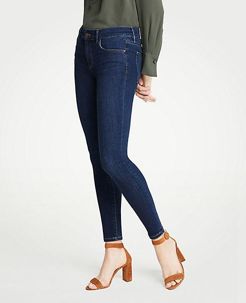 Petite Curvy Performance Stretch Skinny Jeans In Mid Indigo Wash