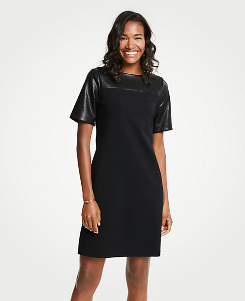 Petite Faux Leather Yoke Ponte Shift Dress
