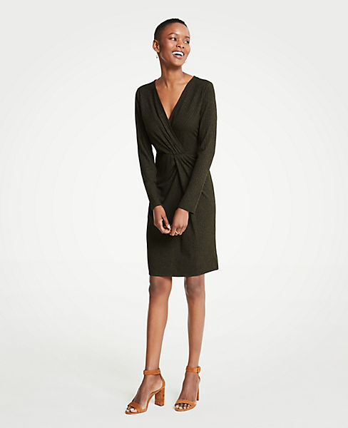 Petite Gathered Rib Knit Dress