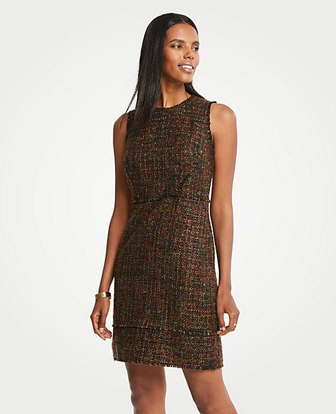 Petite Mixed Fringe Tweed Dress