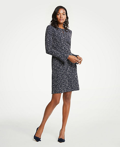 Petite Tweed Flare Sleeve Dress