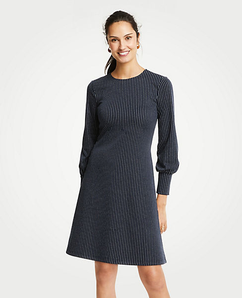 Petite Pinstripe Cuffed Dress