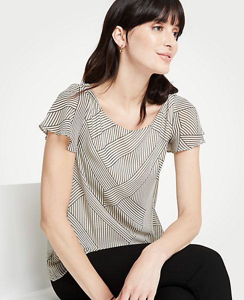 Petite Intersecting Stripe Flutter Sleeve Woven Overlay Top