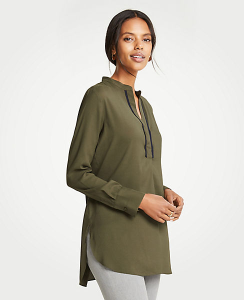 Petite Contrast Piped Tunic