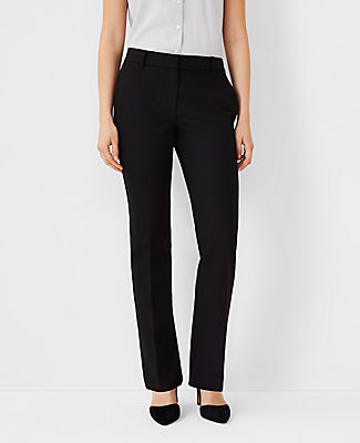 The perfect wear-with-all pants - done with a touch of stretch for a refined, streamlined fit. Front zip with double hook-and-bar closure. Belt loops. Front off-seam pockets. Back besom pockets. Ann Taylor The Petite Straight Leg Pant