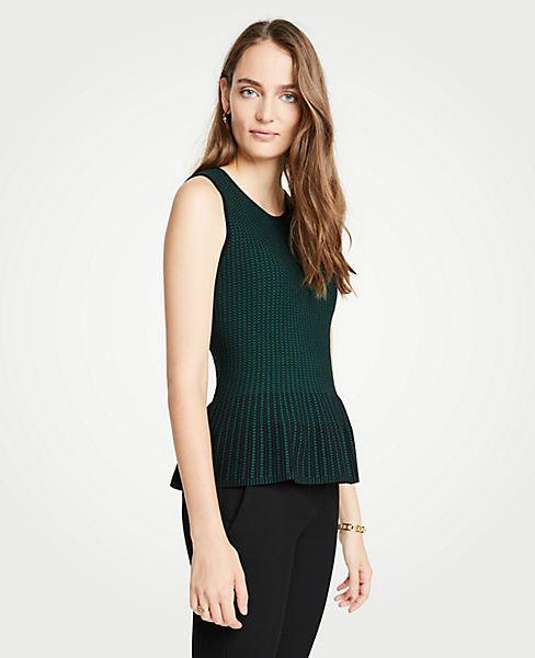 Petite Stitched Sleeveless Peplum Sweater