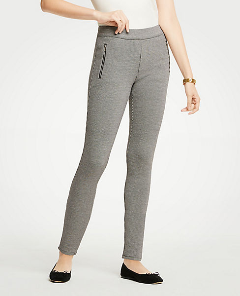 Petite Houndstooth Zip Pocket Leggings