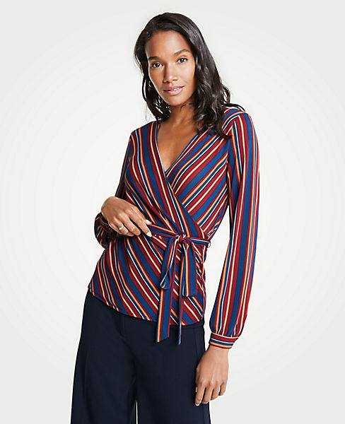 Petite Stripe Belted Wrap Top