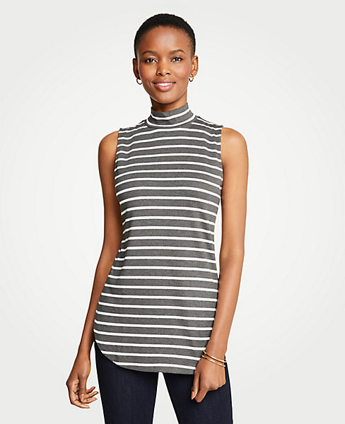 Petite Striped Sleeveless Mock Neck Tunic
