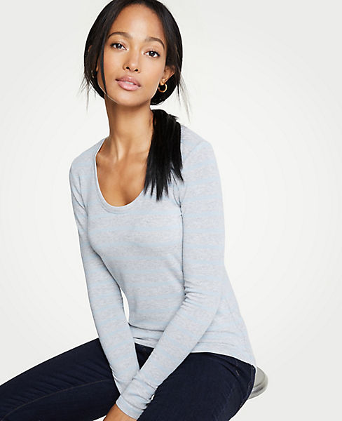 Petite Stripe Scoop Neck Long Sleeve Tee