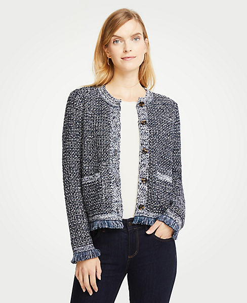 Sequin Fringe Tweed Jacket