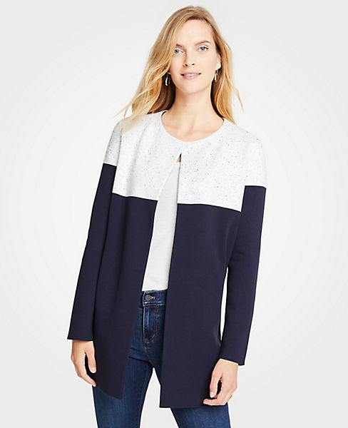 Petite Colorblock Open Cardigan
