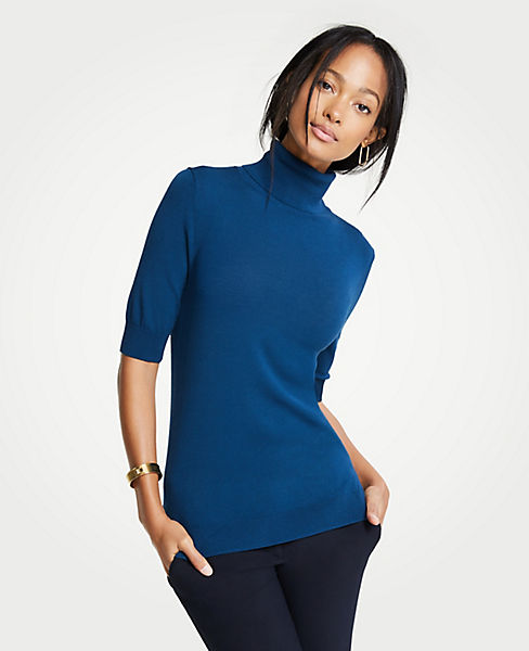 Petite Elbow Sleeve Turtleneck