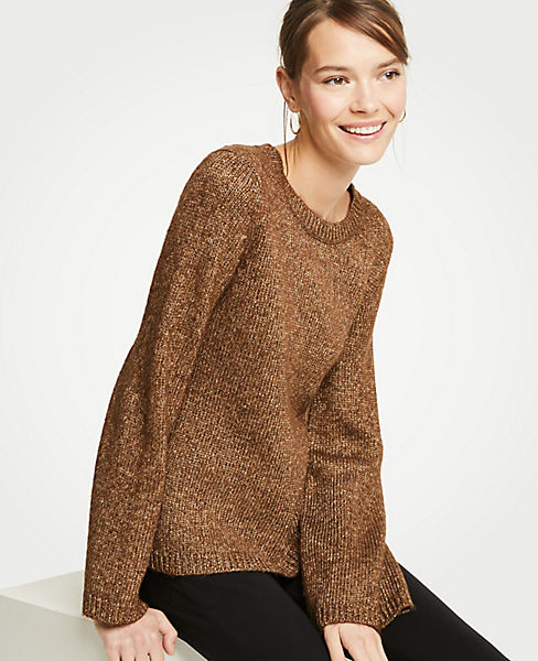 Petite Metallic Flare Sleeve Sweater