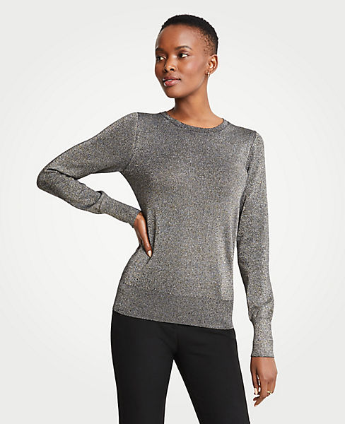 Petite Shimmer Crew Neck Sweater