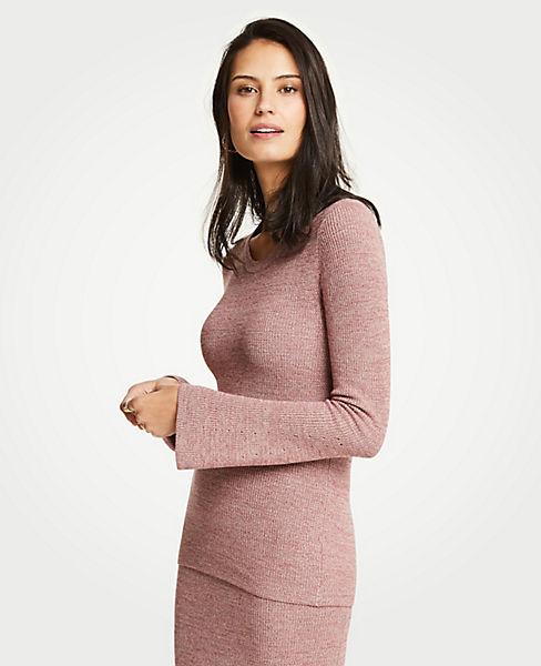 Petite Melange Flare Sleeve Sweater