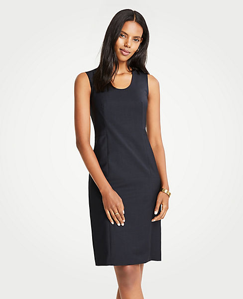 The Petite V-Neck Belted Sheath Dress in Tropical Wool