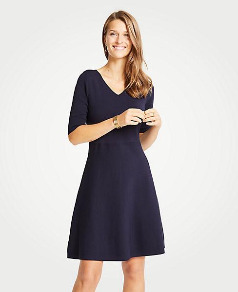 Petite Wide V-Neck Flare Sweater Dress
