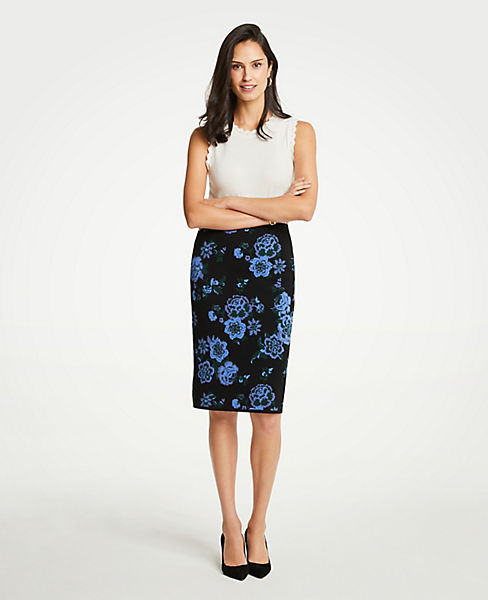 Petite Floral Jacquard Sweater Pencil Skirt
