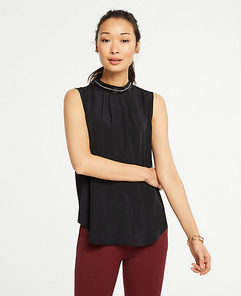 3-Pack Ann Taylor Embellished Mock Neck Shell