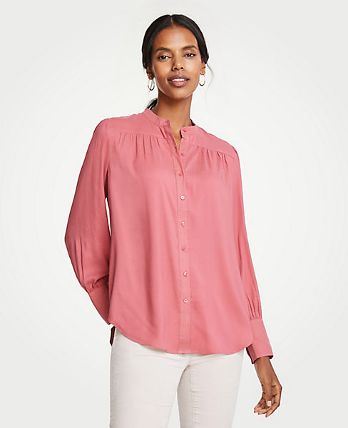 52a03112c Shirred Button Down Blouse | Ann Taylor