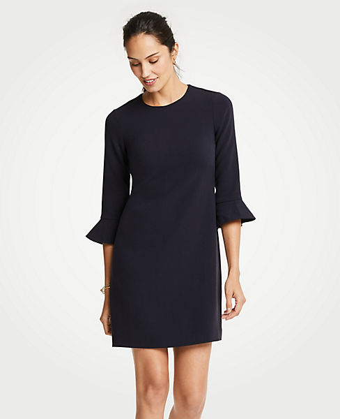 Petite Doubleweave Fluted Sleeve Shift Dress