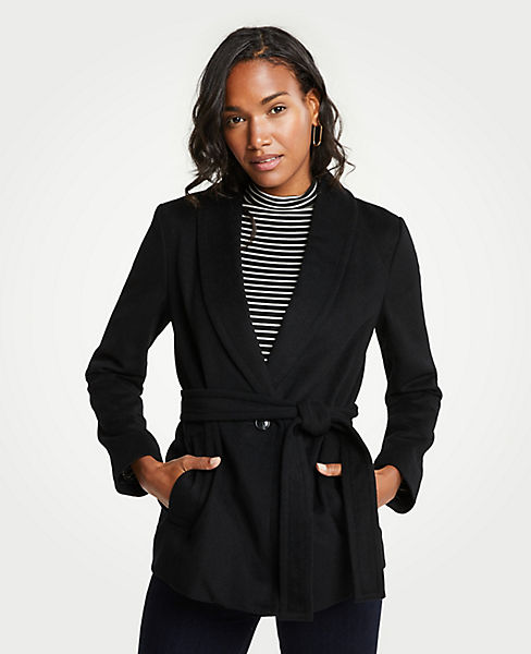 Petite Shawl Collar Belted Coat