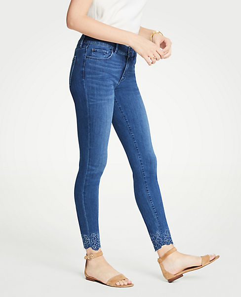 Petite Curvy Embroidered Floral All Day Skinny Jeans