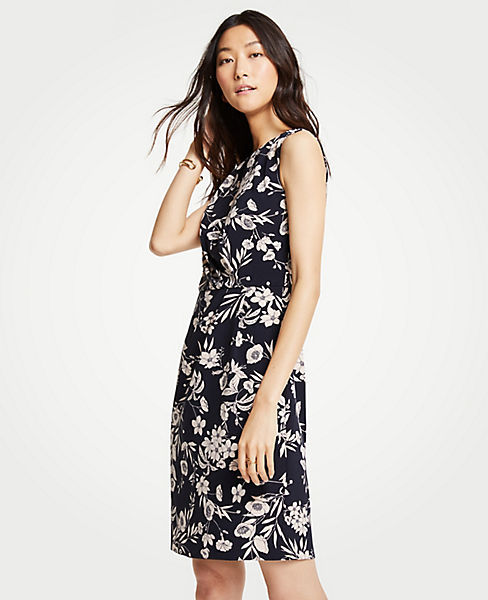 Petite Floral Ruched Sheath Dress