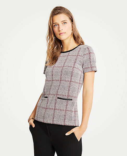 Petite Faux Leather Trim Plaid Pocket Top