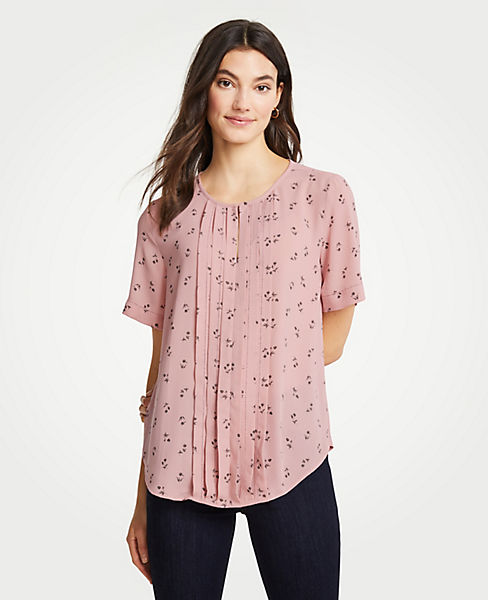 Petite Floral Pleat Front Keyhole Tee