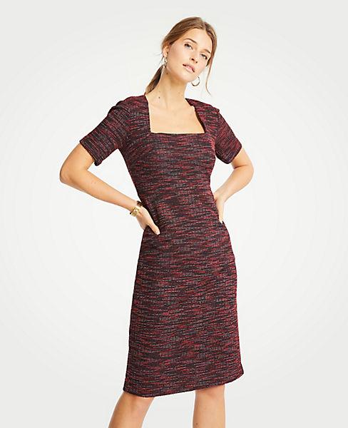 Petite Tweed Square Neck Sheath Dress