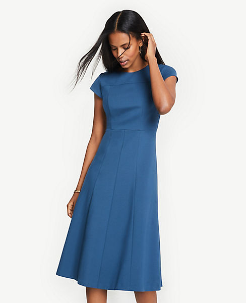 Petite Seamed Ponte Flare Dress