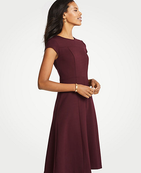 Petite Seamed Ponte Flare Dress