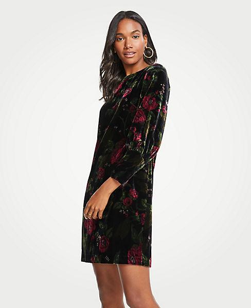 Petite Cuffed Floral Velvet Shift Dress