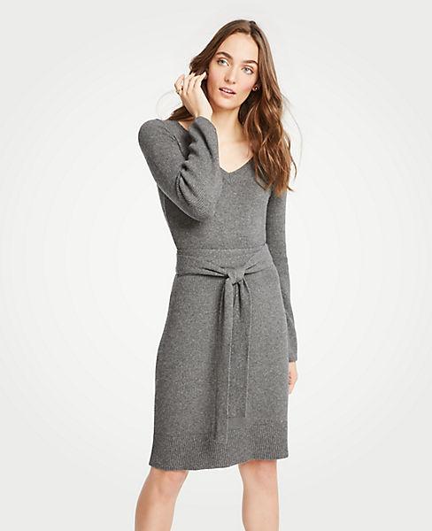 Petite Tie Waist V-Neck Sweater Dress